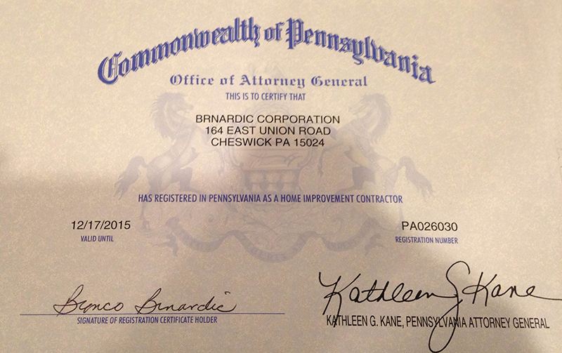 Pittsburgh Certified Contractor
